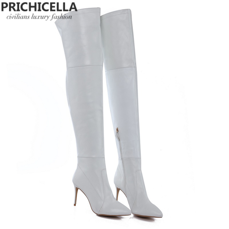 PRICHICELLA 8cm 10cm grey genuine leather over the knee boots thigh high booties size34-42 booties grey mer booties