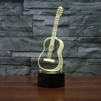 Novelty Night Light 3D Visual Lights 7 Color Changing Creative Ukulele Guitar Model Illusion Lamp LED