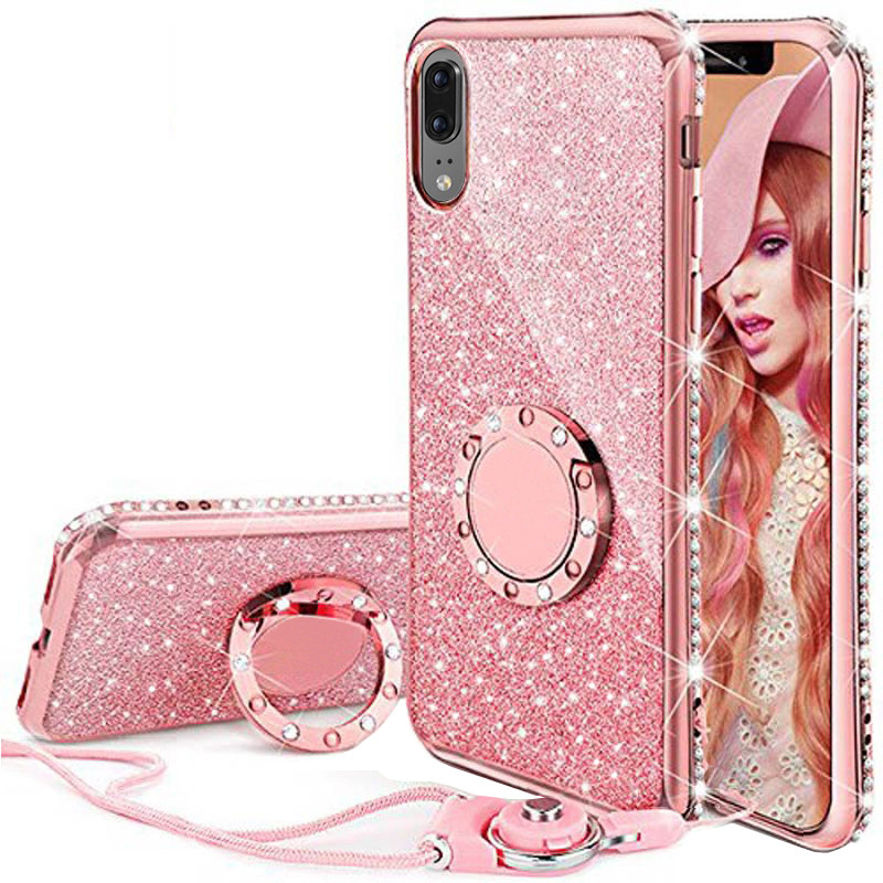 <font><b>Diamond</b></font> Glitter <font><b>Case</b></font> For Samsung S9 S8 S7 iphone 6 6s 7 8 Plus X Phone <font><b>Cases</b></font> Bling Ring Holder Soft Cover For <font><b>Huawei</b></font> <font><b>P20</b></font> Lite image