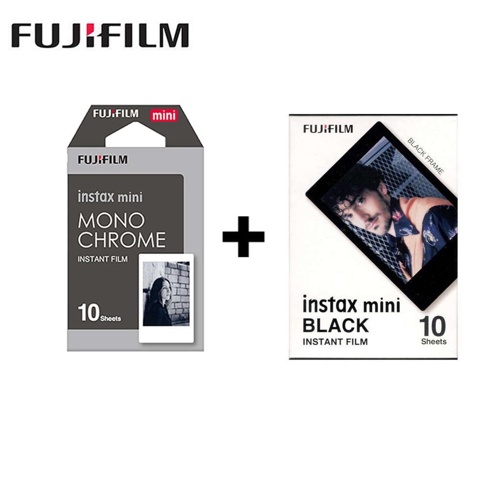 2 packs Fujifilm Instax Mini Film Monochrome + black Frame For Polaroid  Mini 8 7s 7 50s 50i 90 25 dw Share SP-1 Instant camera hearth
