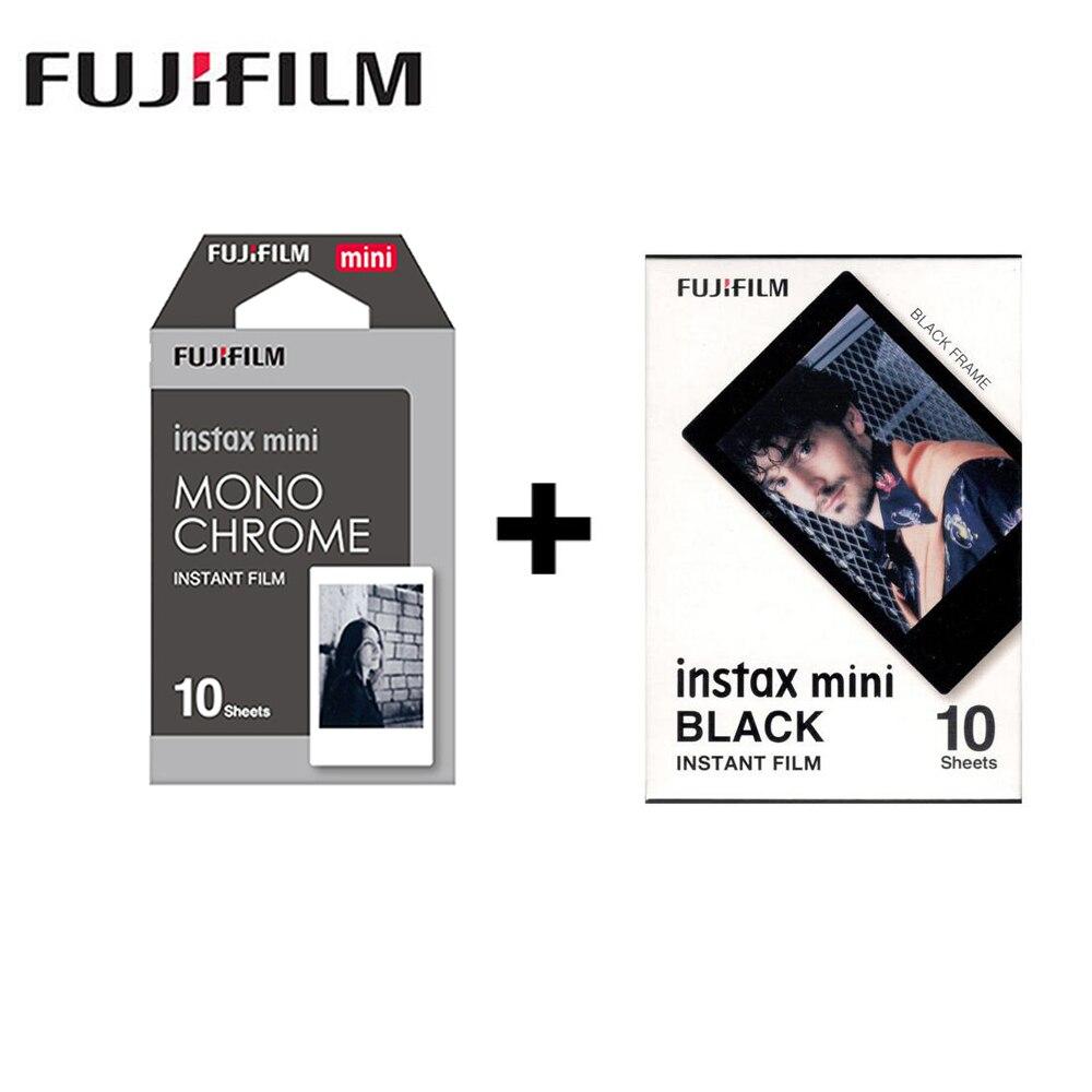 2 packs Fujifilm Instax Mini Film Monochrome + Cadre noir Pour Polaroid Mini 8 7 s 7 50 s 50i 90 25 dw Partager SP-1 Instant caméra