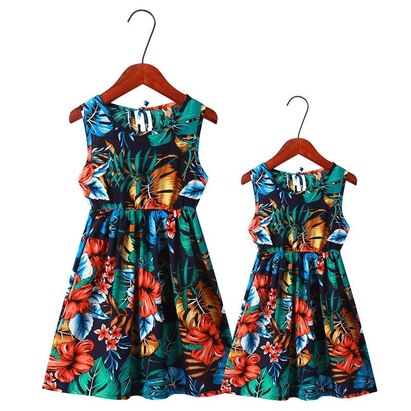 Mère fille robes Floral imprimé mère et fille vêtements été maman et fille plage robe famille correspondant tenues