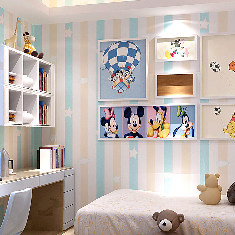 Kids room princess room non woven wall paper blue pink - Pink and white striped wallpaper bedroom ...