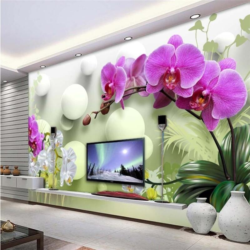 Beibehang Wall Paper 3d Mural Custom Living Room Bedroom Home Decor HD Phalaenopsis 3D Wallpaper Tv Background Wall