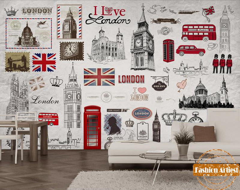custom british red bus wallpaper mural uk image i love london big ben poster tv sofa bedroom. Black Bedroom Furniture Sets. Home Design Ideas