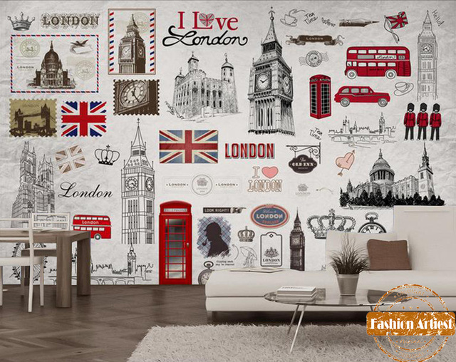 Custom Britse Rode Bus Behang Mural Uk Afbeelding I Love London Big Ben Poster Tv Sofa