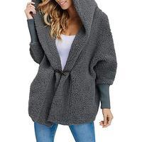 Осенне-зимнее женское тонкое пальто из искусственного меха с капюшоном, длинный рукав, свободный меховой кардиган, теплая куртка, верхняя о...