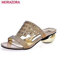 MORAZORA Large Size 34 43 Med Heels Shoes 4cm Rhinestone Two Colors Summer Shoes Sandals Women