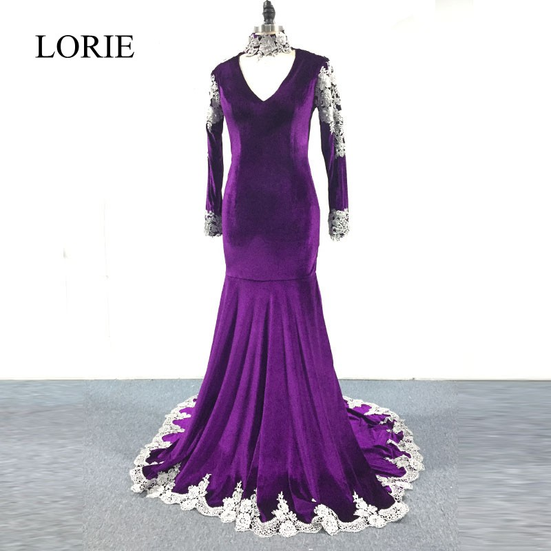 LORIE Elegant Purple Long Sleeve   Prom     Dresses   2018 Mermaid Plus Size Evening   Dress   Silver Lace Appliques High Neck Party Gowns