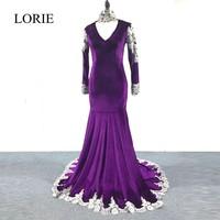 LORIE Elegant Purple Long Sleeve Prom Dresses 2018 Mermaid Plus Size Evening Dress Silver Lace Appliques High Neck Party Gowns