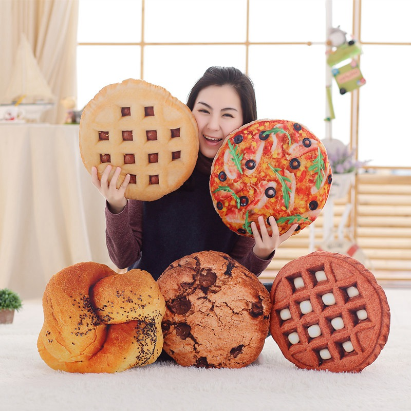 Simulation Pizza&Biscuit&Hamburger Plush Pillow Soft Cartoon Fast Food Bread&Hot Dog Stuffed Doll Sofa Chair Cushion Funny Gifts