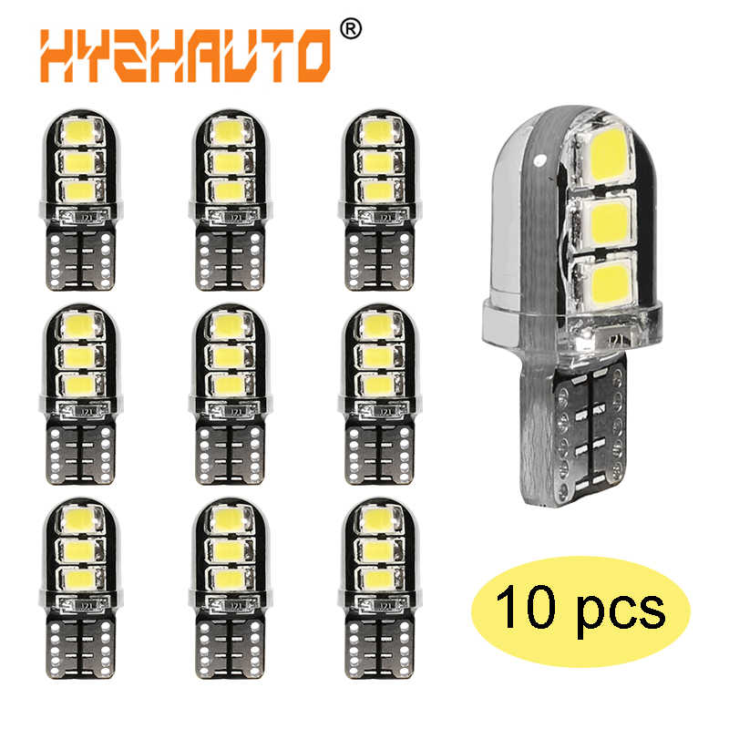 10 Pcs T10 LED CANBUS Mobil Lampu 194 168 W5W LED Parkir Lampu Bohlam 6SMD Silicagel LED Auto Baji Clearance lampu Instrumen Lampu