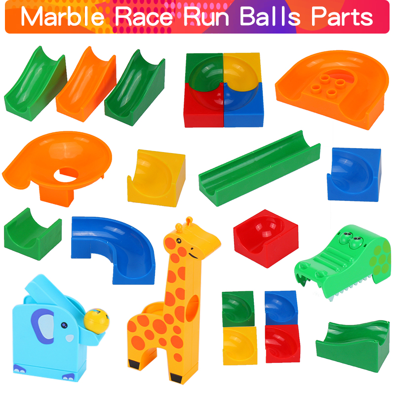 Large Particle Big Building Blocks Brick Parts Marble Race Run Maze Balls Track Funnel Compatible Duploed Toys For Children Kids