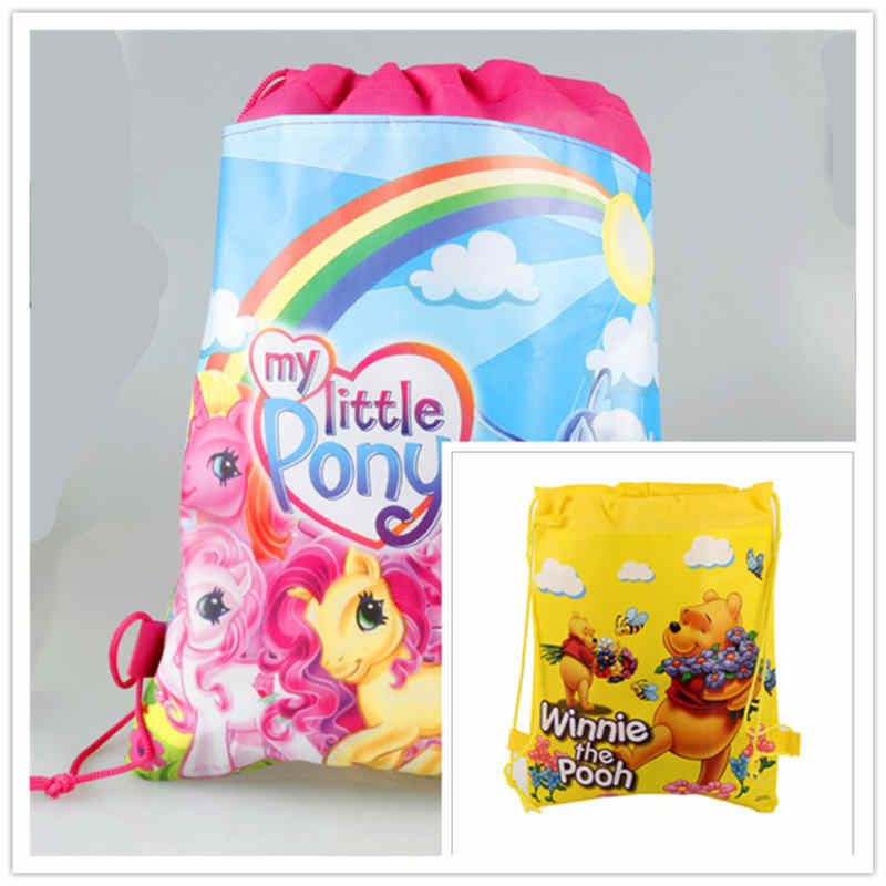 My Little Pony Theme 1pcs Portable Drawstring Bag Winnie Handbag School Bag Kid Travel Cotton Pouch Storage Clothes Shoes Bag