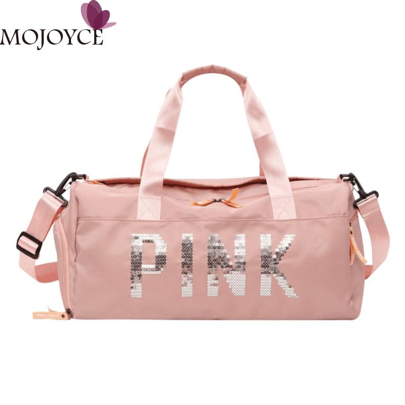 Ladies Black Travel Big Bag Pink Color Sequins Shoulder Bags Women Portable Nylon Waterproof Handbags Large Capacity For Female