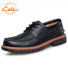 Фотография CELE Brand Shoes Moccasins Leather Casual Shoes Men Fashion Business Boat Shoes Soft Leather And Comfortable Lace-up Shoes