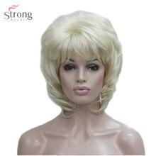 StrongBeauty Kadın Sentetik Peruk Kısa Düz Kabarık Doğal Saç Kapaksız Peruk Bleach Sarışın #613