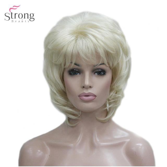 StrongBeauty delle Donne Parrucca Sintetica Breve Rettilineo Fluffy Naturale Dei Capelli Senza Cappuccio Parrucche Bleach Blonde #613