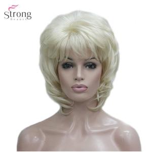 Image 1 - Strongbeauty 여성용 합성 가발 짧은 스트레이트 털이 자연 헤어 캡리스 가발 블리치 블론드 #613