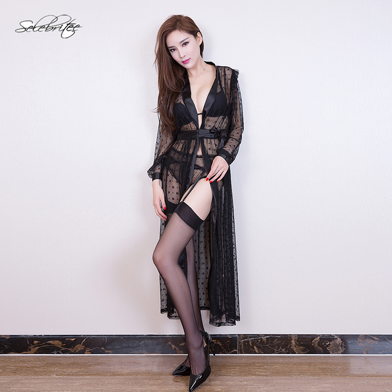 Selebritee Women Nightgown Robe Set Mesh Long Sleeve Lace Kimono Robe Sexy Lingerie with Panty Belt Ladies Satin Sleepwear Robes