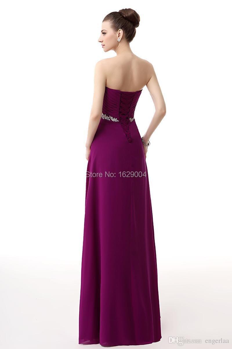 Uva de Color Appliqued gasa con cuentas vestido de dama de debajo ...