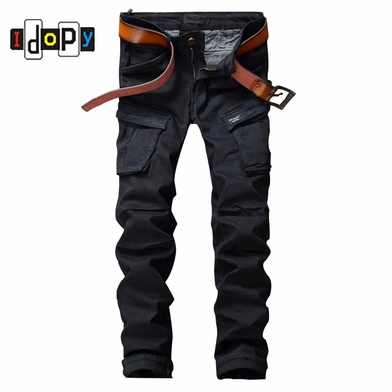 ФОТО Fashion Men's Brand Designer Jeans Men Slim Fit Patch Mulit Pocket Black Jeans Straight Hip Hop Denim Pants For Men