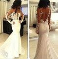 Sereia De Manga Comprida 2016 Vestidos de Casamento Corpete Cabido Backless Apliques de Cetim vestidos de Noiva Vestidos de Casamento Custom Made Trem Da Varredura