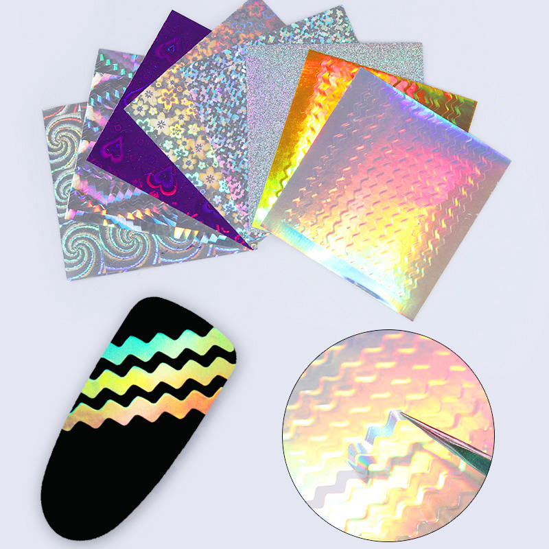 6 Sheets Adhesive Laser Holo 3D Nail Sticker Ultra Thin Wave Line Nail Foil Decal Manicure Sticker Decoration born pretty 6 sheets 3d adhesive holo nail sticker ultra thin laser line candy nail foil decal