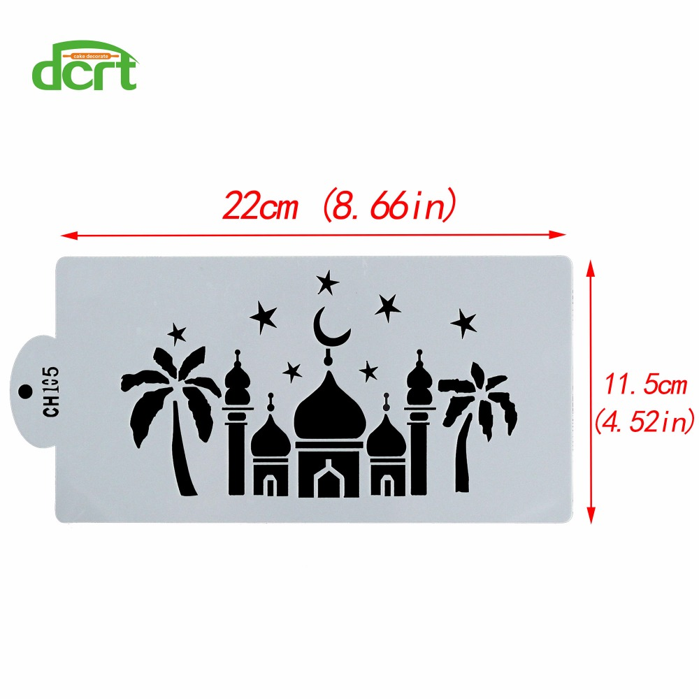 US $1 55 21% OFF Baking Cake Tools Islamic Mosque Font Design Cake Stencil  ,Kitchen Baking Cookie Cake Pastry Pattern Plastic Stencils for Cakes-in