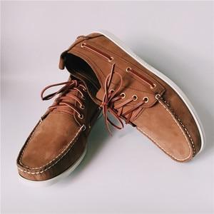 Image 4 - Erkekler Üst Deri Rahat Daireler Lace Up Moda sürüş ayakkabısı Adam Vintage Bot Ayakkabı Chaussure Homme Size46 Zapatos Hombre Ayakkabı