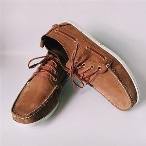 Image 4 - Zapatos planos informales de cuero para Hombre, calzado de moda con cordones, Estilo Vintage, talla 46