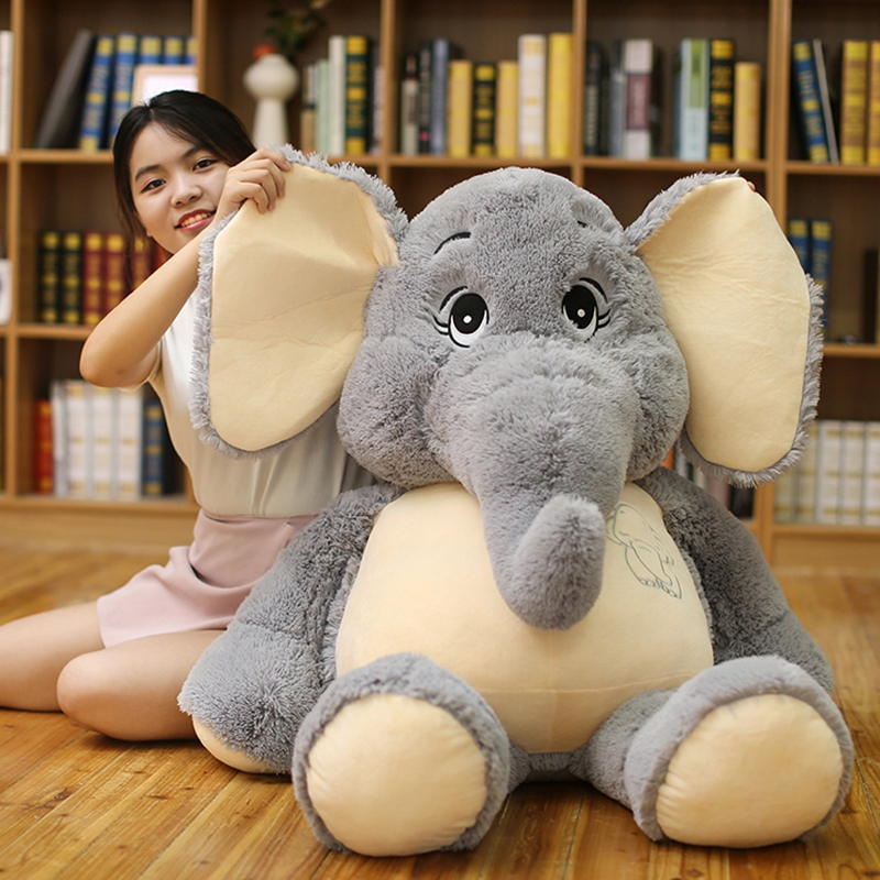 Giant Plush Elephant Toys Grey Stuffed Big Flappy Ears Long Plush Elephant Animal Toys For Children Christmas Gift For Children