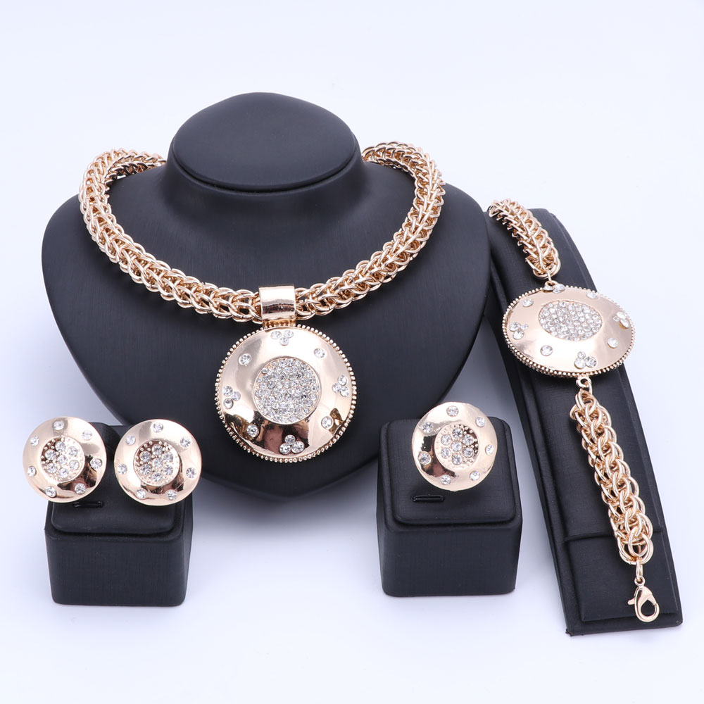 Luxury Big Dubai Gold Color Crystal Jewelry Sets Fashion Nigerian Wedding African Beads Costume Necklace Bangle Earring Ring