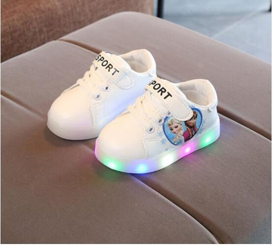 Kids Shoes With Light Princess Girls Led Sneakers Spring/Autumn Breathable Fashion Girls Cartoon Elsa Shoes Soft Girls ShoesKids Shoes With Light Princess Girls Led Sneakers Spring/Autumn Breathable Fashion Girls Cartoon Elsa Shoes Soft Girls Shoes