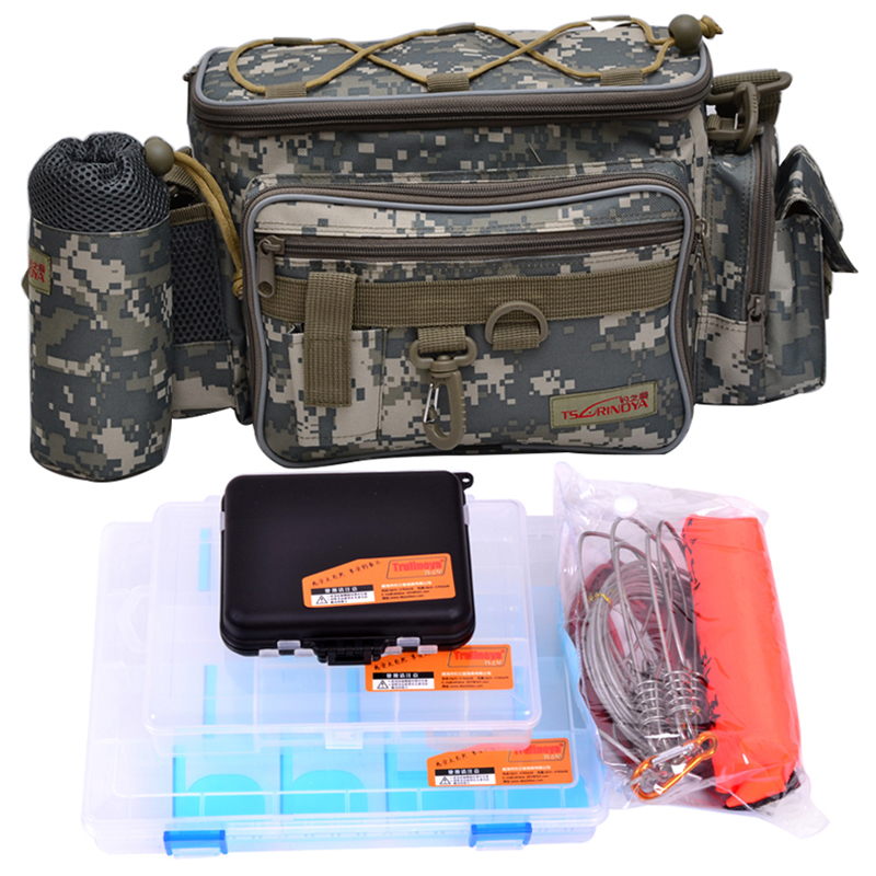 Trulinoya Multifunctional Fishing Bag Lure Bag Waist Pack Fishing Tackle Box Live Fish Buckle Combination(5PCS/LOT) tourbon multifunction fishing bag lure bag waist pack pouch pole package fish tackle bag nylon black