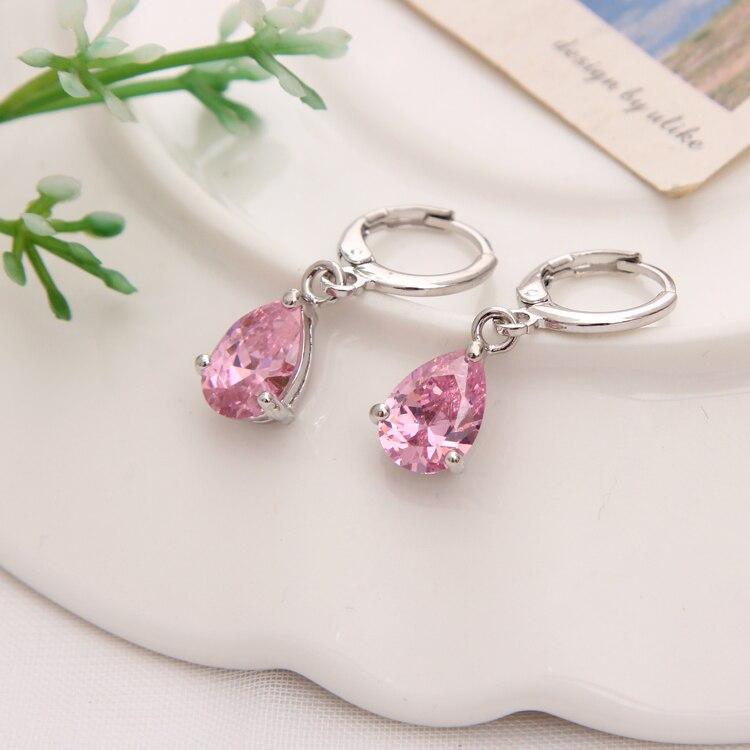 Gold Color Earrings Green Water Drop CZ Stone Pierced Dangle Earrings Women/Girls Long Drop Earrings fashion jewelry 19