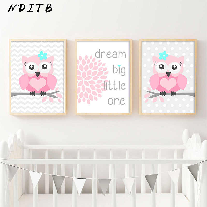 Nditb для маленьких девочек настенная живопись садик холст печати плакатов мультфильм лесное животное живопись, декоративная картина картины без рамы Декор