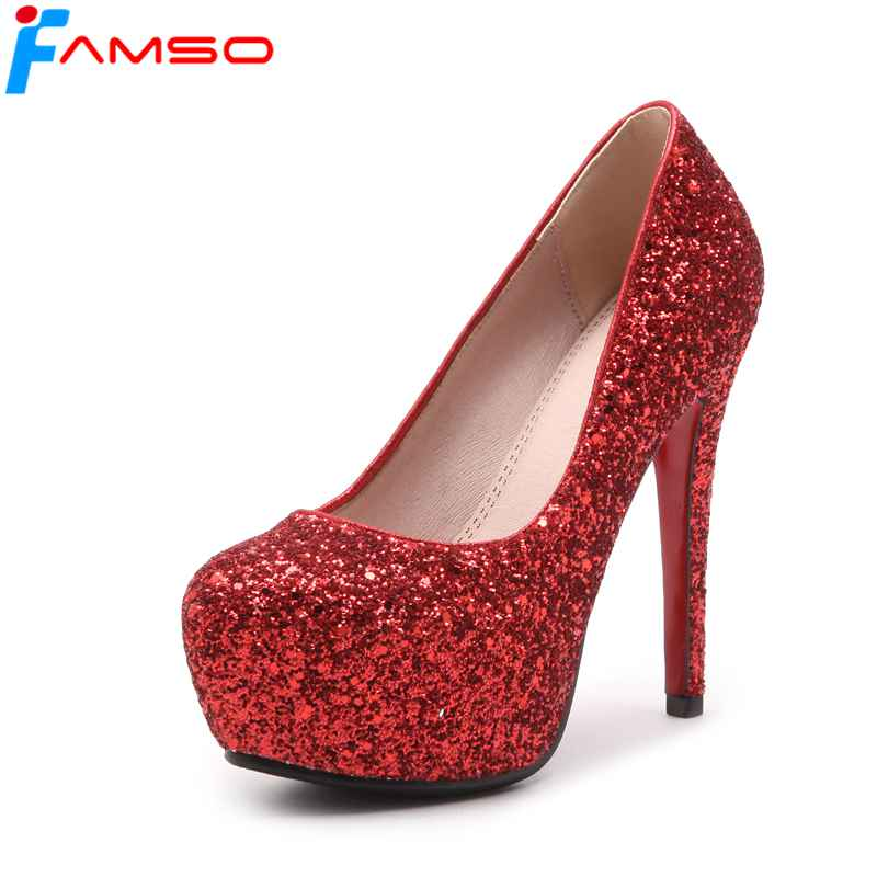 FAMSO 2018 New Shoes Women Pumps Black red Silver Glitter High Heels Shoes Female Spring Autumn Party Pumps Ladies Shallow Shoe