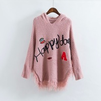 2017Fashion Knitted Tassel Pullover Women Hooded Sweater Batwing Sleeve Embroidery Fashion Letter Patch Design Casual Knitwear