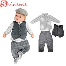 Automne nouveau – né mis bébé garçon gentleman barboteuse trois – pièce costume de bébé vestes casual vêtements enfants anniversaire porter vêtements