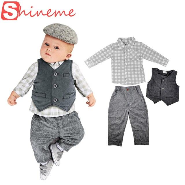 Autumn newborn infant set baby boy gentleman romper three-piece toddler suit jackets casual clothes kids birthday wear clothing