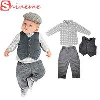 Hot New Spring Autumn Baby Suit Gentleman Boys Cloths Waistcoat Shirt Pants Set Popular Style The