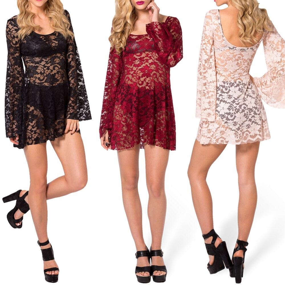 243bcbda279 Long Sleeve Lace Dress Causal Women Summer Dress Arabella Black Milk ...