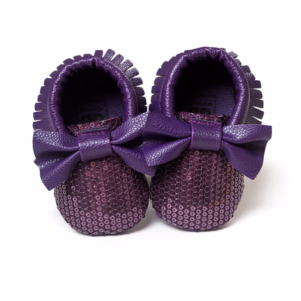 2016 Newest Styles Baby Soft Tassel Moccasins Girls Moccs Baby Booties Shoes Bowknot design Mocs infant shoes Purple color