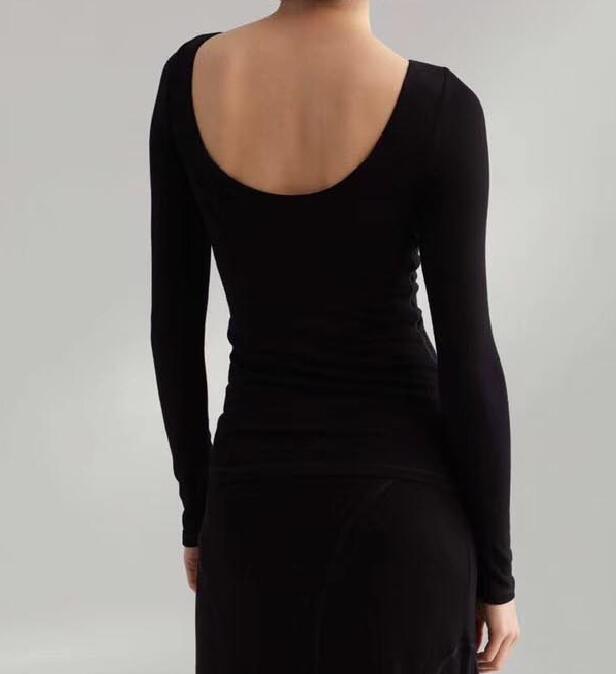Kadın Giyim'ten Tişörtler'de Rimont en nougat Siyah Moda Viskon Üstleri Tekne Boyun scoop Geri Uzun Kollu ince siluet Moda Elastik Tayt Kadın'da  Grup 2