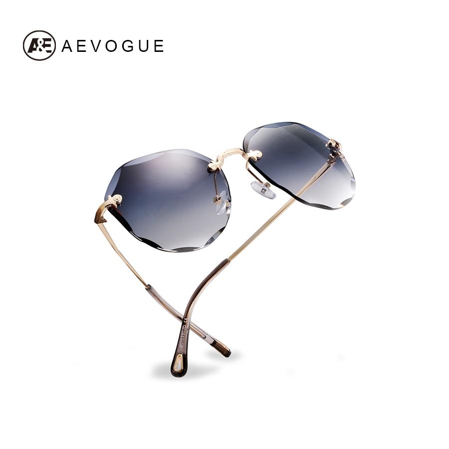AEVOGUE Sunglasses For Women ladies Rimless Diamond cutting Lens Brand Designer Ocean Shades Vintage Sun Glasses AE0637 2