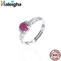 Real Ruby Rings For Women Solid 925 Sterling Silver Fine Jewelry 4 6mm Gems Birthstone Ring
