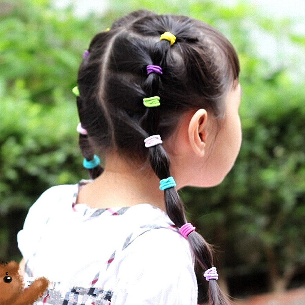100PCS Girls Colorful Rope Elastic Hair Ropes Hair Accessories Ponytail Holder Hairbands Ties Braids Plaits Hair Clip Headbands
