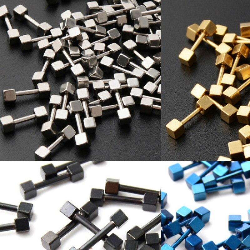 earrings for men women 316L Stainless Steel Pendant Cube style Stud Earrings Punk Rock Style Male Men Earrings Jewelry