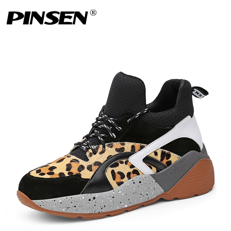 PINSEN Autunmn Winter leopard Casual Women Shoes Sport Woman Fashion Sneakers Lady Flats Thick Slip On Shoes Chaussure Femme artmu woman flowers cowhide shoes fashion slip on genuine leather woman handmade casual shoes chaussure noire femme shoes